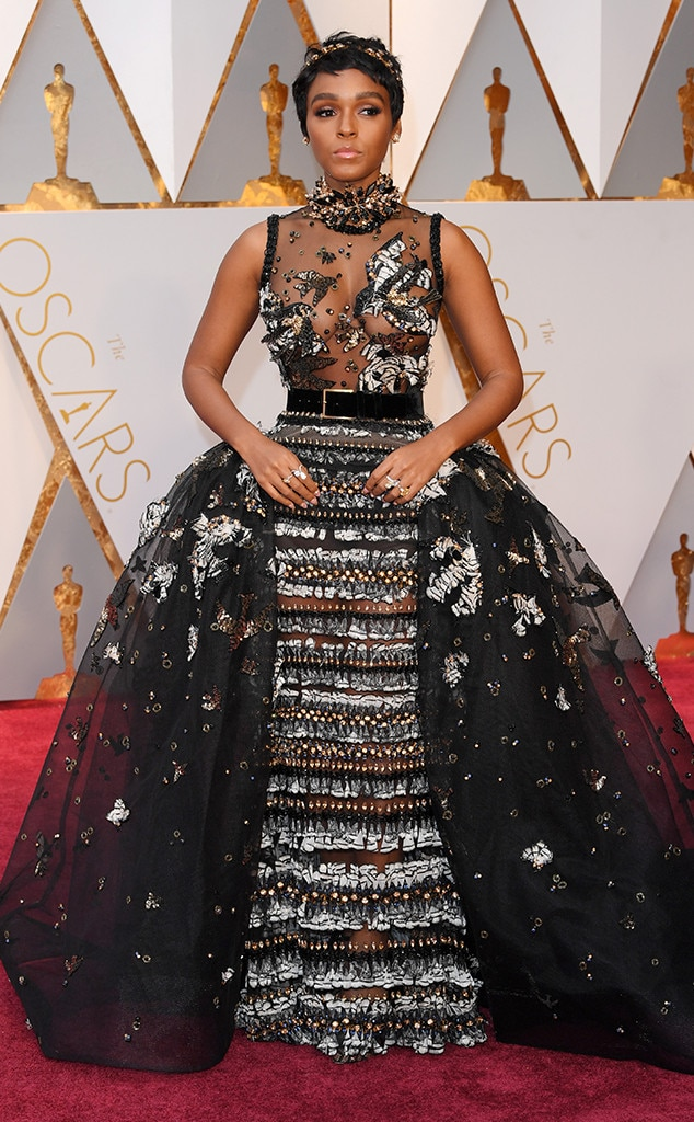 Janelle Monae: Her Elie Saab dress has way to much going on. There is a lot of potential for this gown if it had a few pieces such as the sides, and belt taken off. Less is more!
