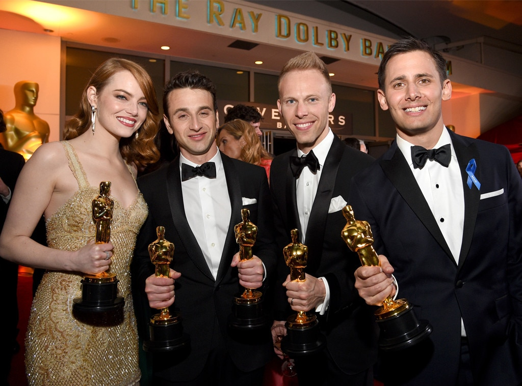 Emma Stone, Justin Hurwitz, Justin Paul, Benj Pase, 2017 Oscars Party Pics, Governors Ball