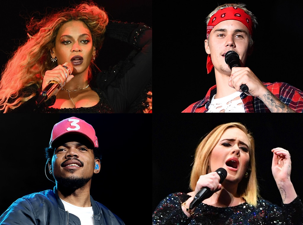 Beyonce, Justin Bieber, Adele, Chance the Rapper