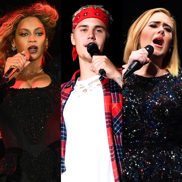 Beyonce, Justin Bieber, Adele, Chance the Rapper