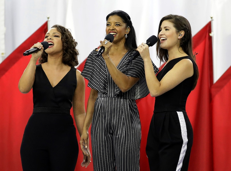 Phillipa Soo, Jasmine Cephas Jones, Rene Elise Goldsberry, Hamilton Sisters, 2017 Super Bowl, God Bless America