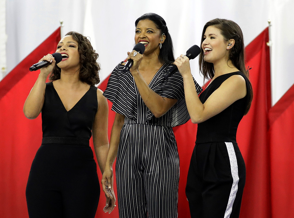 Phillipa Soo, Jasmine Cephas Jones, Rene Elise Goldsberry, Hamilton Sisters, 2017 Super Bowl, God Bless America
