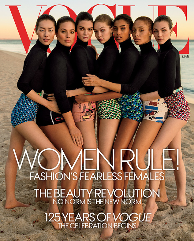 Kendall Jenner, Gigi Hadid, Ashley Graham, Adwoa Aboah, Liu Wen, Vittoria Ceretti, Imaan Hammam, Vogue March 2017