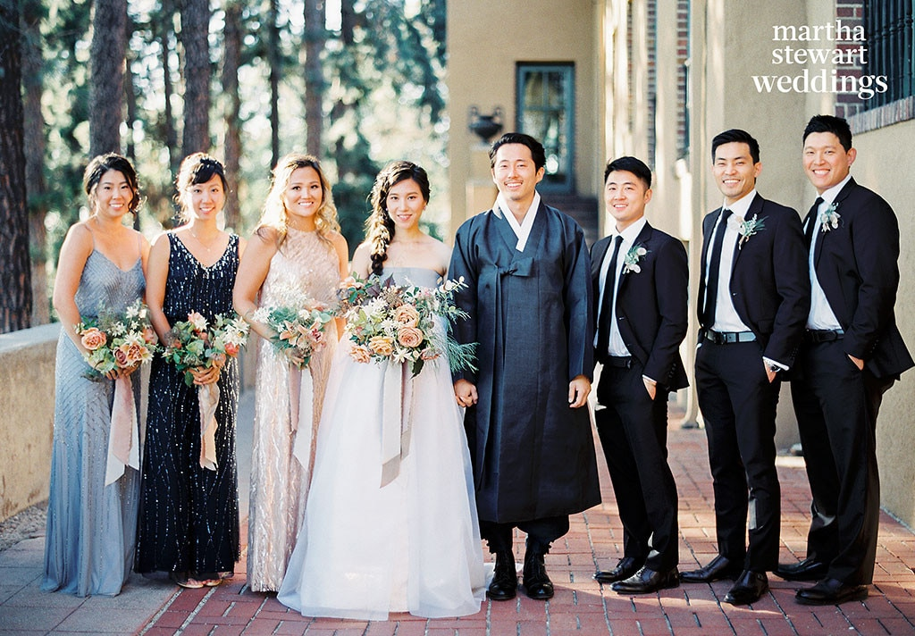 Steven Yeun and his wife Joana Pak on their wedding ceremony