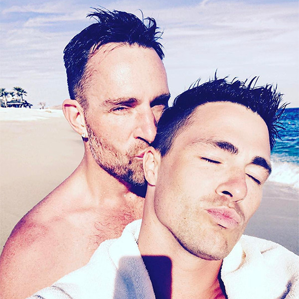 Image result for Colton Haynes Throws Fiancée Jeff Leatham in a Pool After Celebrating Engagement With Closest Family and Friends