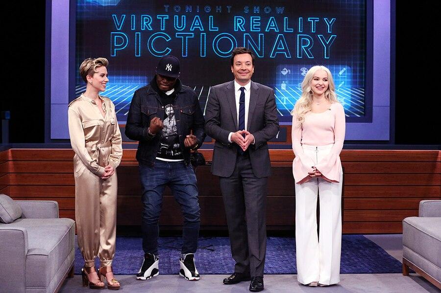 The Tonight Show, Scarlett Johansson, Michael Che, Jimmy Fallon, Dove Cameron
