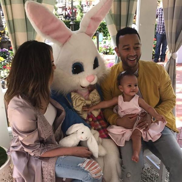 Chrissy Teigen, John Legend, Luna, Easter Bunny