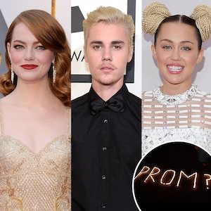 Emma Stone, Justin Bieber, Miley Cyrus, Prom