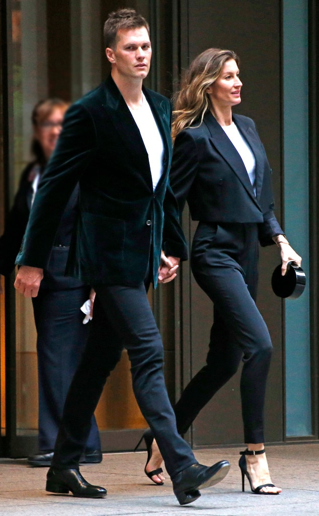 gisele b252ndchen and tom brady are twinning in black suits
