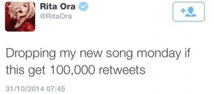 Rita Ora, Twitter