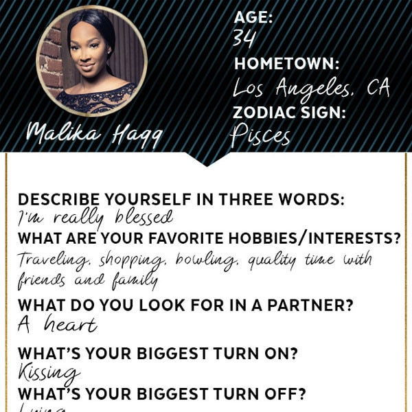 Famously Single, Dating Profile, Malika Haqq