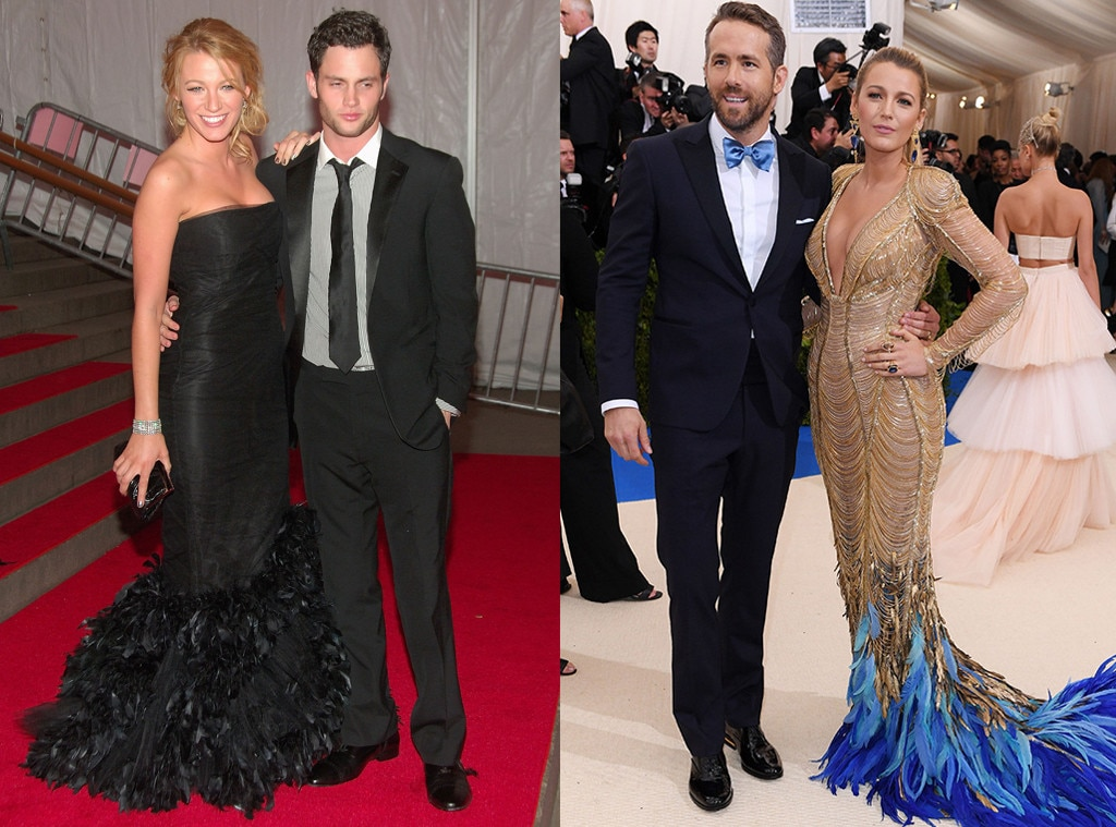 Blake Lively, Penn Badgley, Ryan Reynolds, MET Gala Then and Now