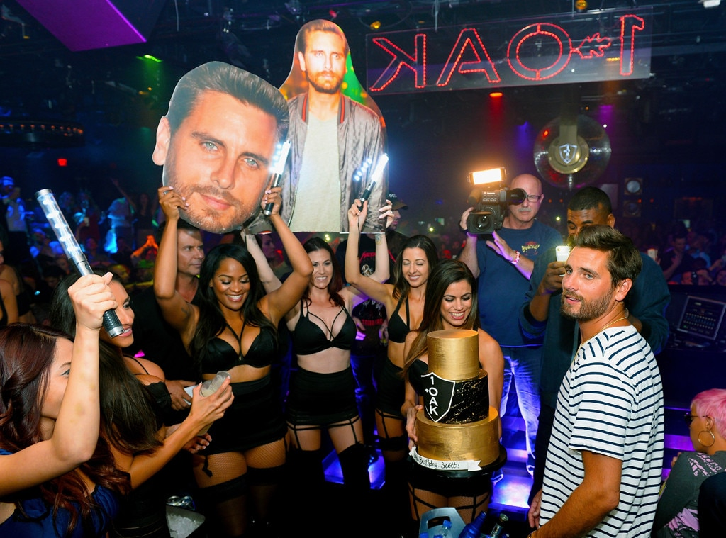 Scott Disick looks down at 34th birthday bash in Las Vegas
