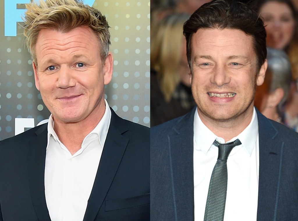 jamie oliver puts an end to longtime feud with gordon ramsay e news. Black Bedroom Furniture Sets. Home Design Ideas