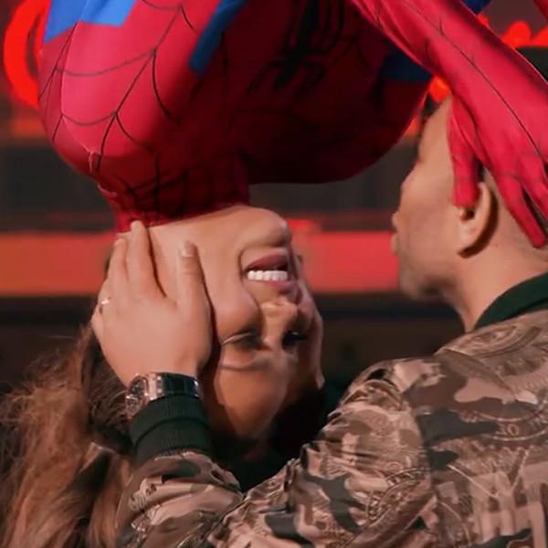 Chrissy Teigen, John Legend, Spider-Man Kiss