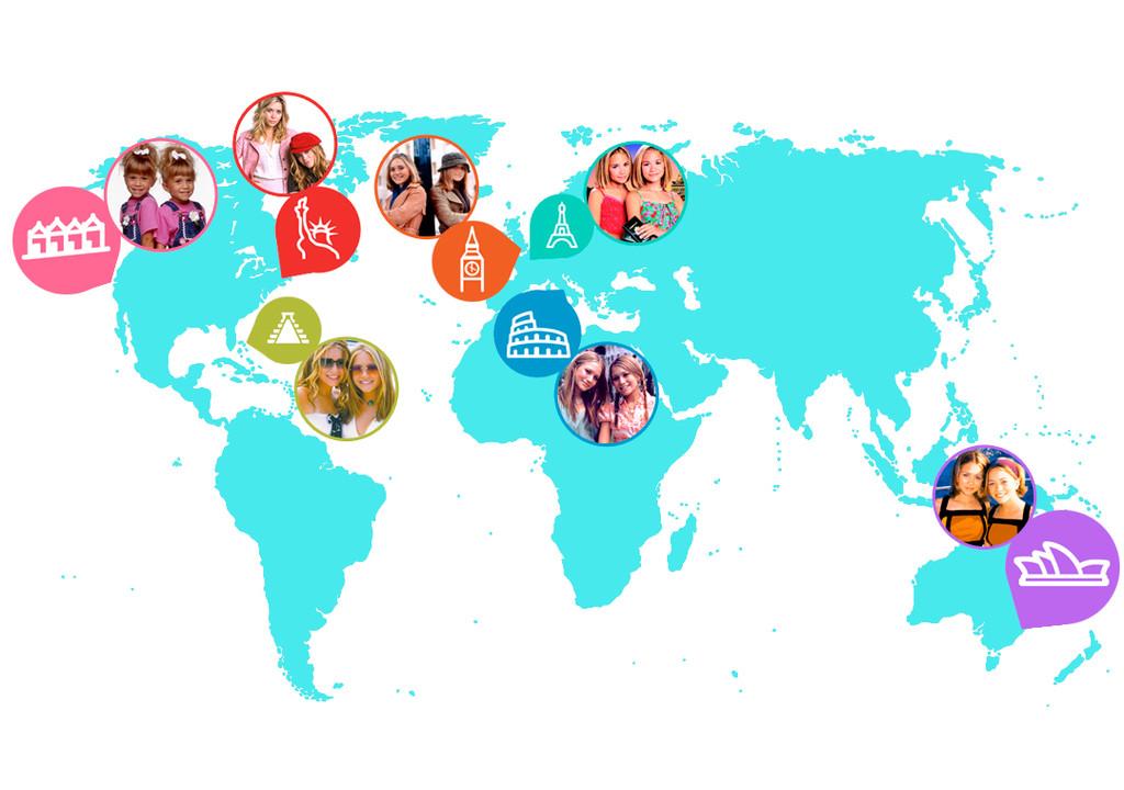 World Map, Mary Kate Olsen, Ashley Olsen