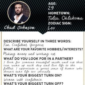 Famously Single, Dating Profile, Chad Johnson