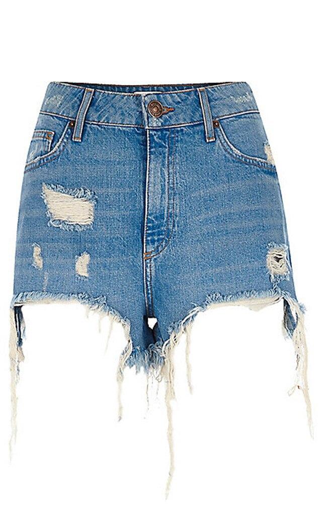 River Island Light Blue High Waisted Sequin Denim Shorts