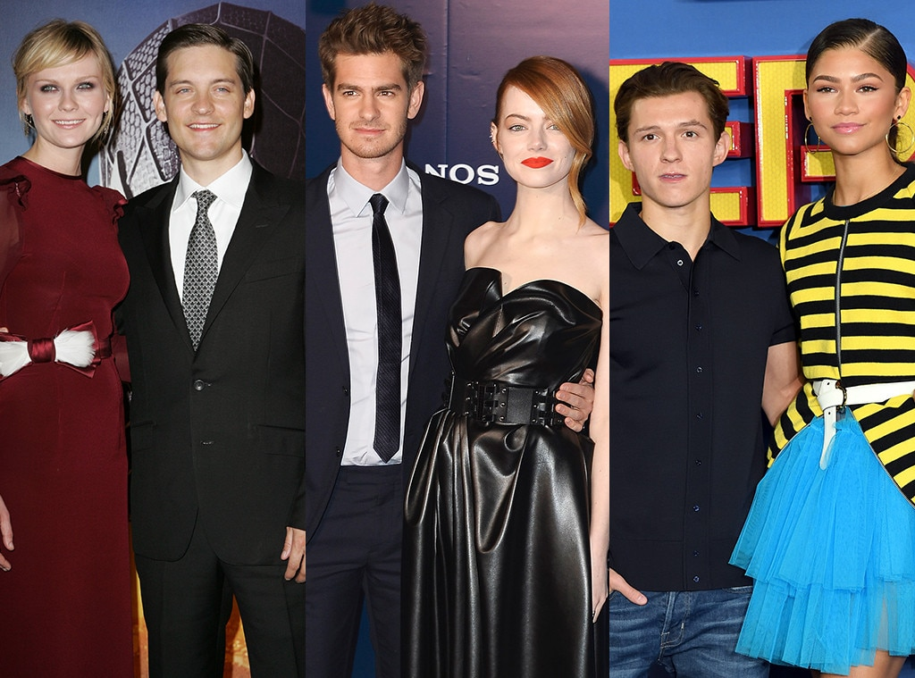 Spider Man Couples, Kirsten Dunst, Tobey Maguire, Emma Stone Andrew Garfield, Zendaya, Tom Holland