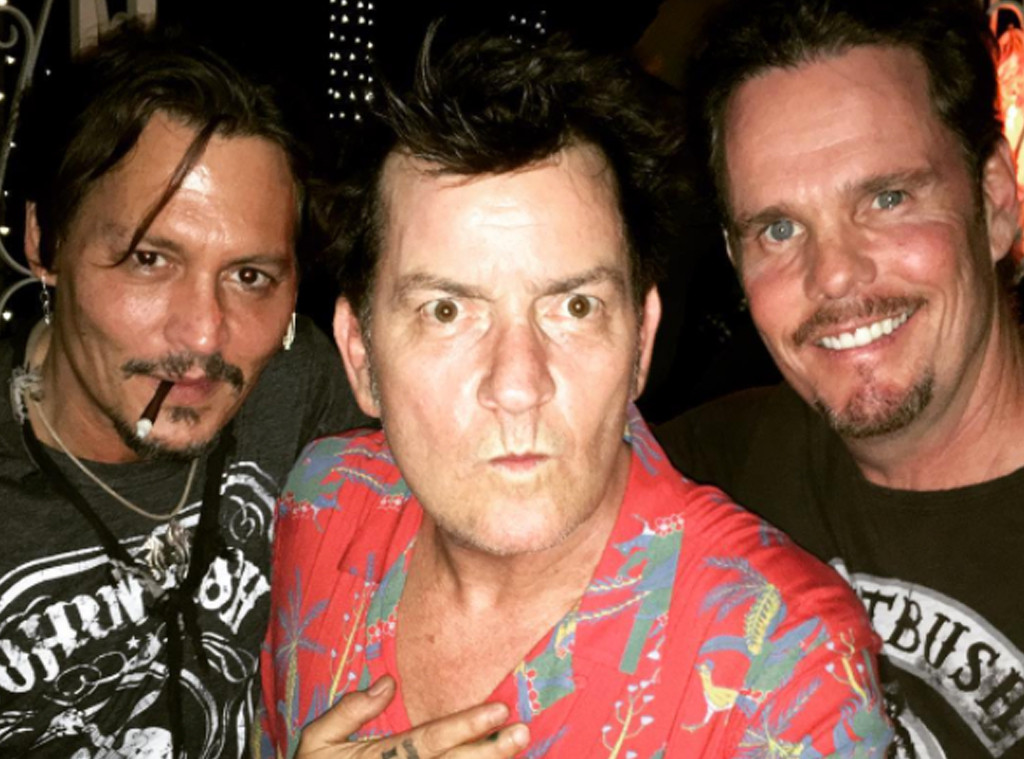 Johnny depp charlie sheen and kevin dillon have platoon reunion johnny depp charlie sheen kevin dillon thecheapjerseys Image collections