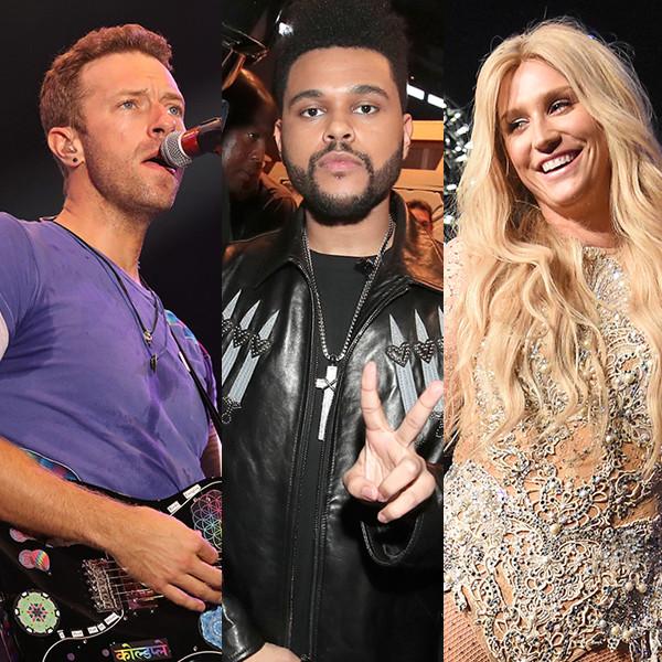 Chris Martin, Coldplay, The Weeknd, Kesha