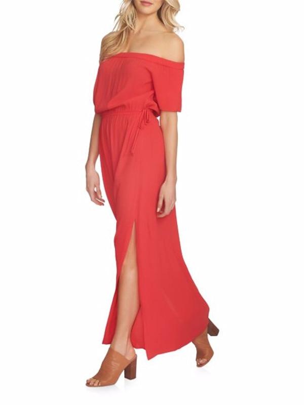 ESC: Red, Off-the-Shoulder Maxi Dresses