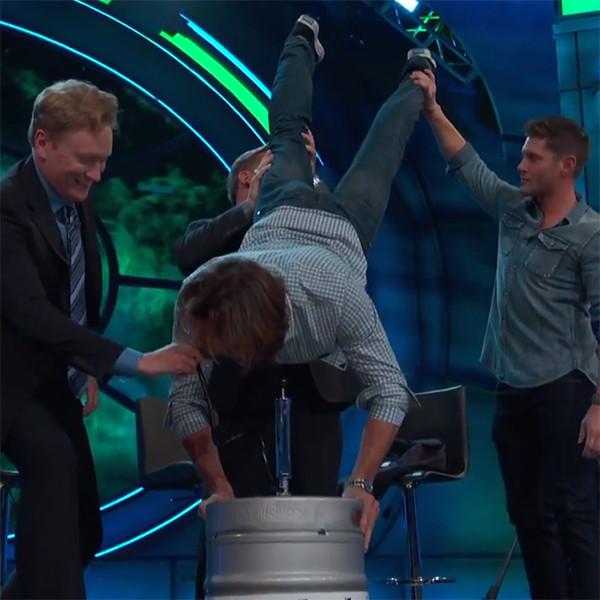 Jared Padalecki Celebrates His 35th Birthday With a Keg Stand on <i>Conan</i>