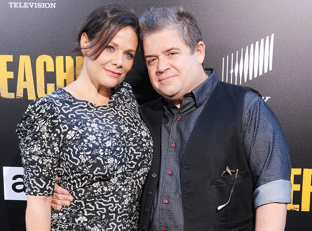 Patton Oswalt with his fiance Meredith Salenger