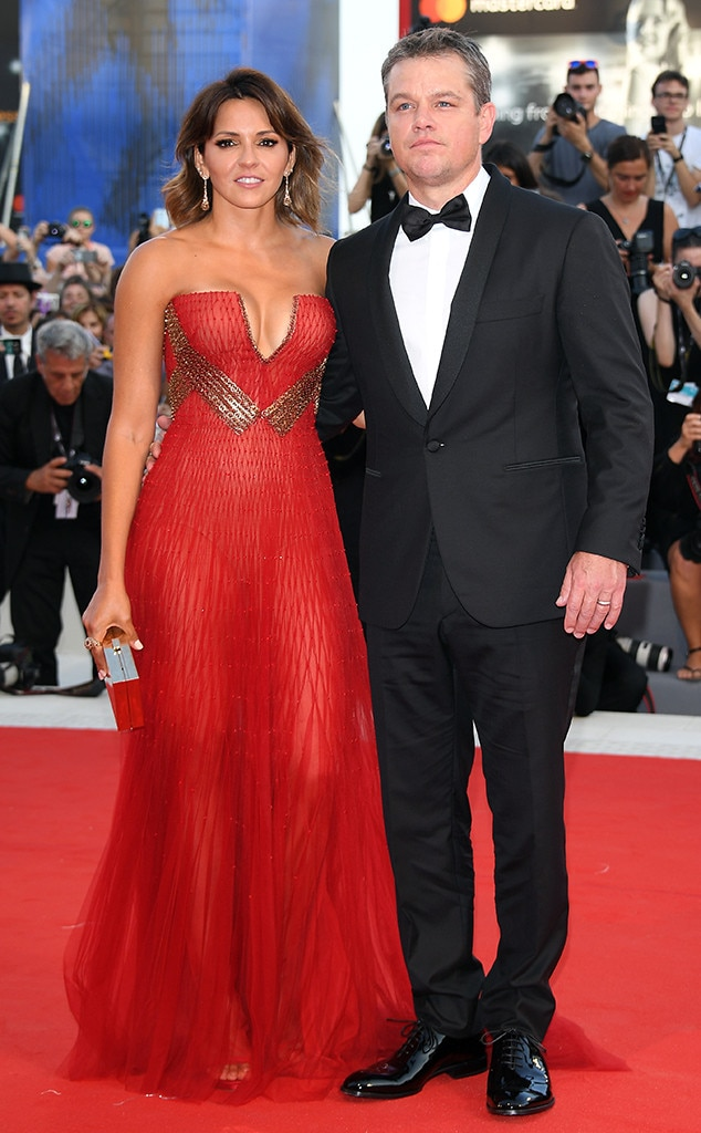 Luciana Barroso and Matt Damon, Venice Film Festival 2017