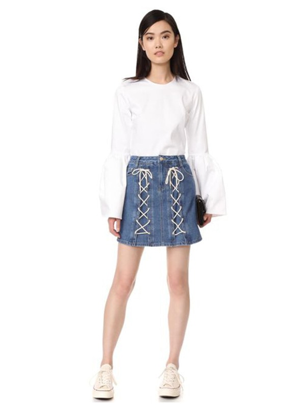 ESC: Lace-Up Denim Skirt