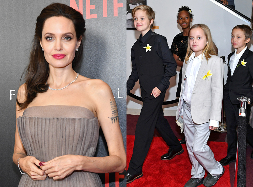 Angelina Jolie, Shiloh, Zahara, Vivienne, 'First They Killed My Father' NYC Premiere