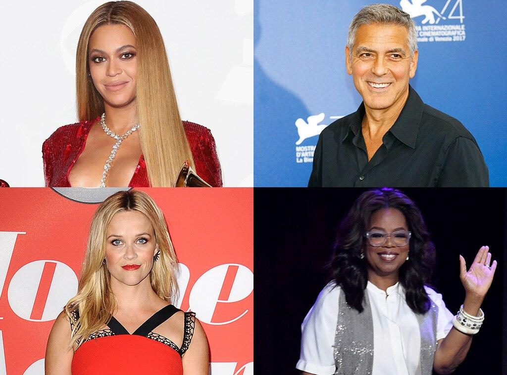 Beyonce, Oprah Winfrey, George Clooney, Reese Witherspoon