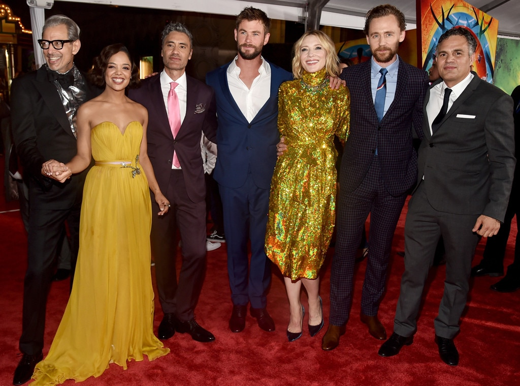 Jeff Goldblum, Tessa Thompson, Director Taika Waititi, Chris Hemsworth, Cate Blanchett, Tom Hiddleston, Mark Ruffalo