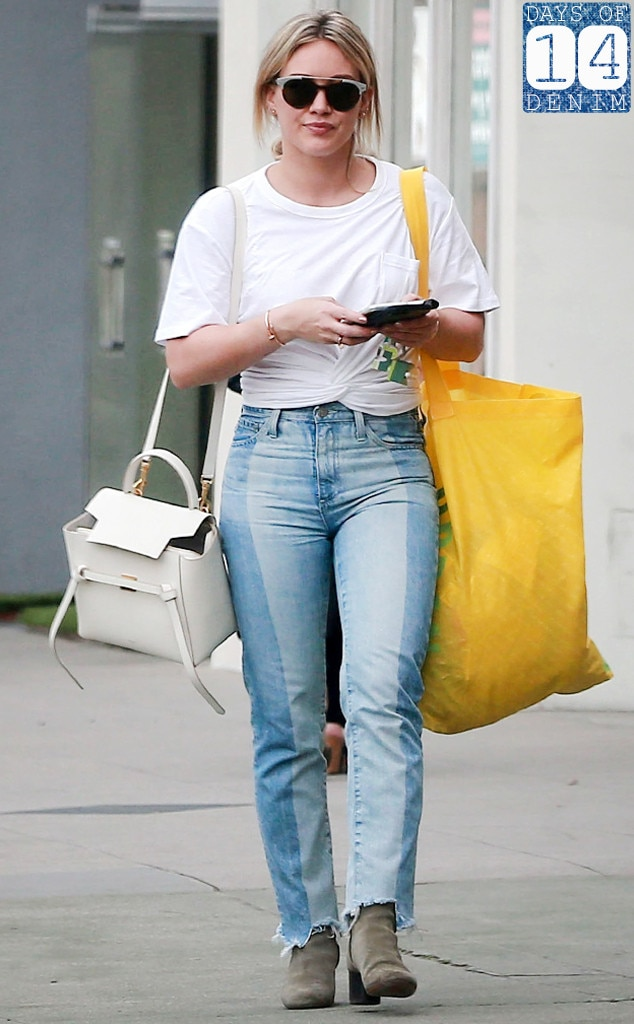 Hilary Duff's Two-Tone Denim Jeans Are Perfect For Lazy Weekends