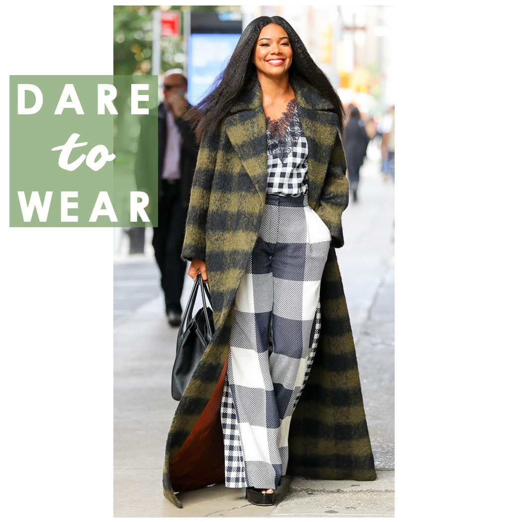 Gabrielle Union's Statement Coat Now Has A Checkered Past