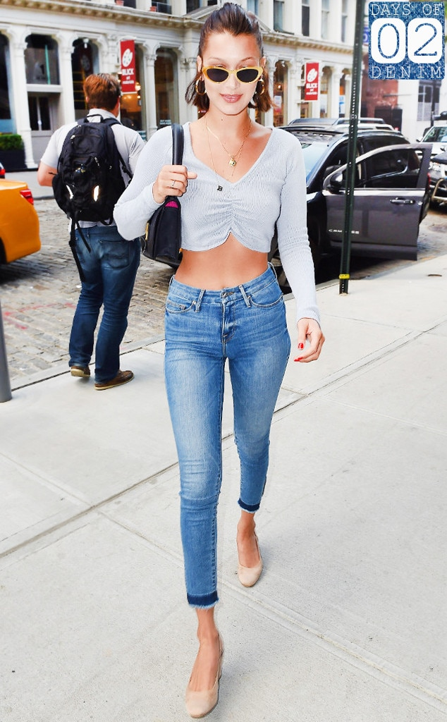 Bella Hadid Wears Fall's Latest Denim Trend: Skinny Jeans