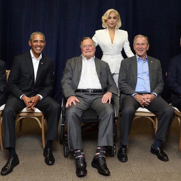 Lady Gaga Poses With All 5 Ex-Presidents at Hurricane Relief Show