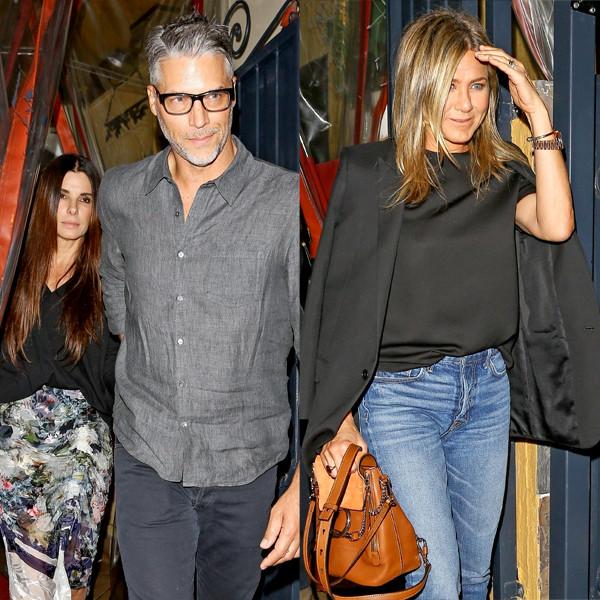 Jennifer Aniston Joins Sandra Bullock and Bryan Randall for Dinner
