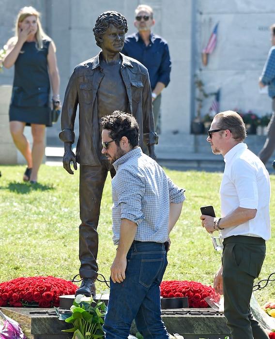 Anton Yelchin, statue, J.J. Abrams, Simon Pegg, Hollywood Forever Cemetery