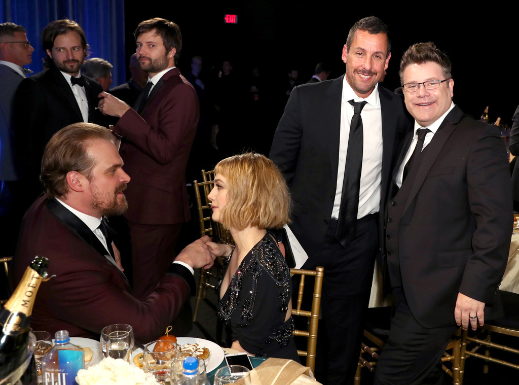David Harbour with girlfriend Alison Sudol at 2018 Critics' Choice Awards