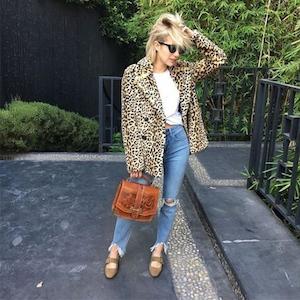 ESC: Emma Roberts, Leopard Coat