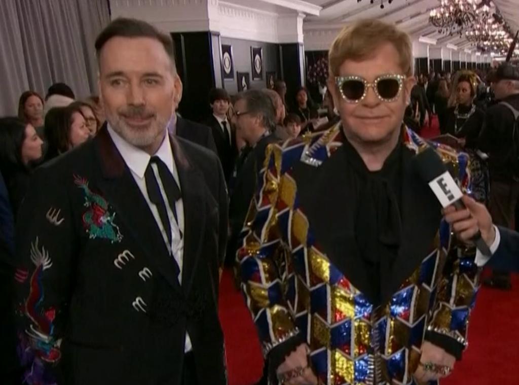 Elton John, David Furnish, 2018 Grammys