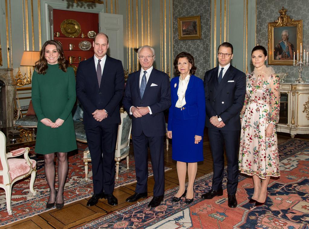 Kate Middleton, Prince William, King Carl XVI Gustaf, Queen Silvia, Prince Daniel, Duke of Vastergotland, Princess Victoria