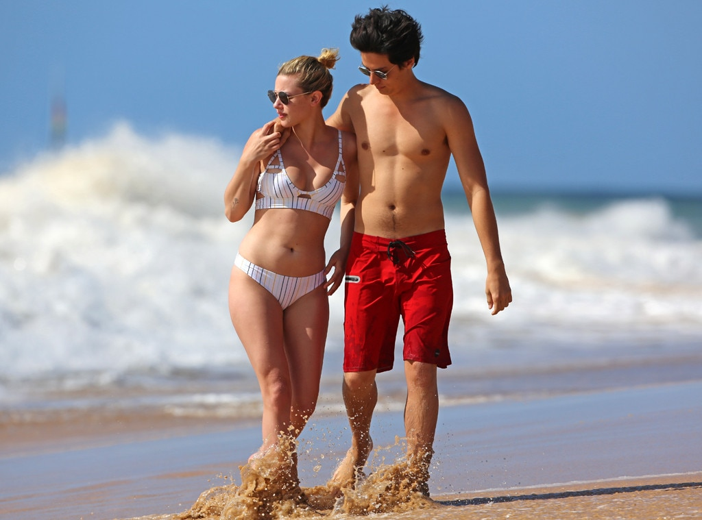 Lili Reinhart in Bikini with Cole Sprouse on the beach in Hawaii Pic 2 of 35