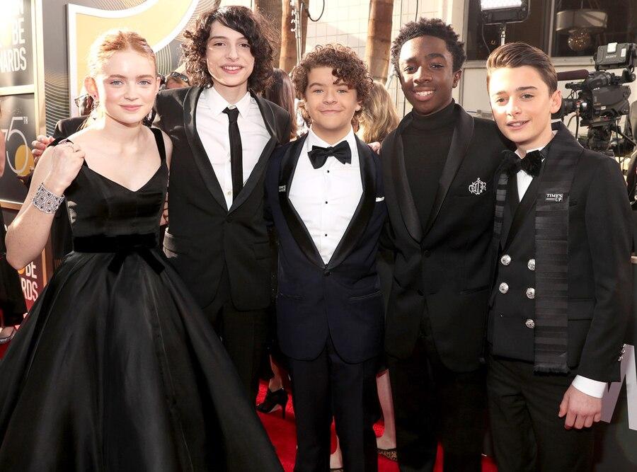 Sadie Sink, Finn Wolfhard, Gaten Matarazzo, Caleb McLaughlin, Noah Schnapp, 2018 Golden Globes