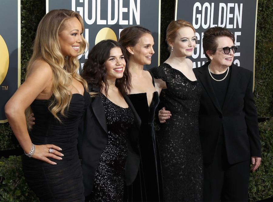 Mariah Carey, America Ferrera, Natalie Portman, Emma Stone, Billie Jean King, 2018 Golden Globes