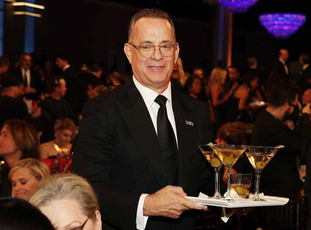 Tom Hanks buys a round of martinis for Steven Spielberg