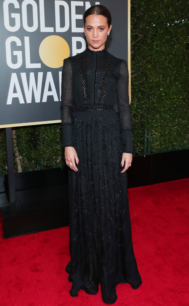 Alicia Vikander, 2018 Golden Globes, Red Carpet Fashions
