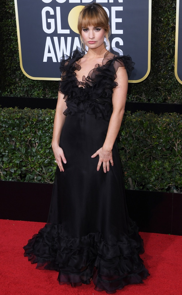 Lily James, 2018 Golden Globes, Red Carpet Fashions