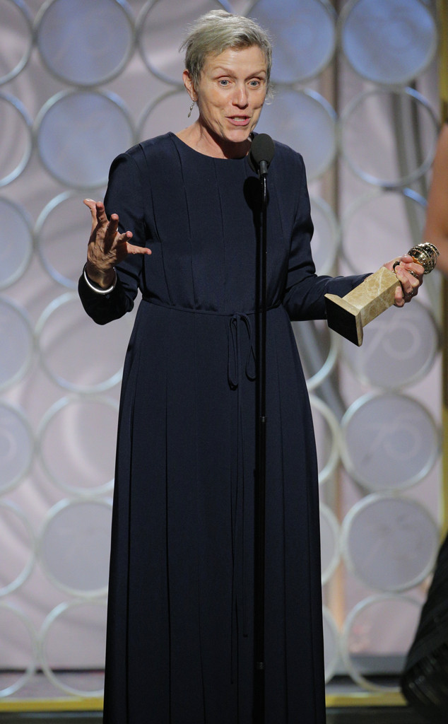 Frances McDormand, 2018 Golden Globes, Winners